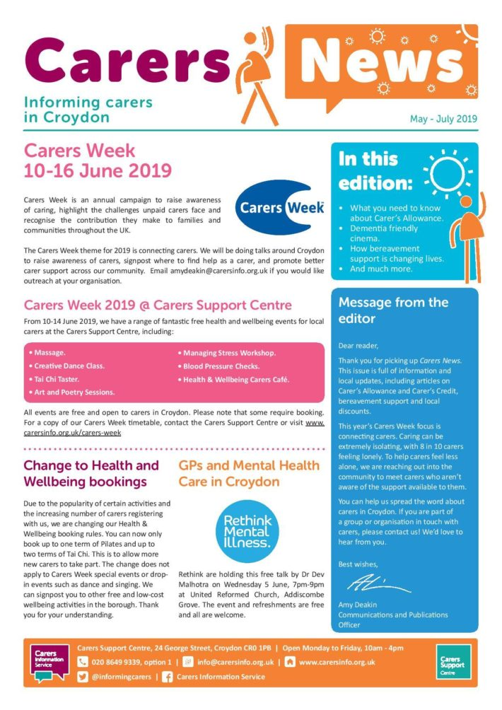image of front cover of Carers News May to July 2019