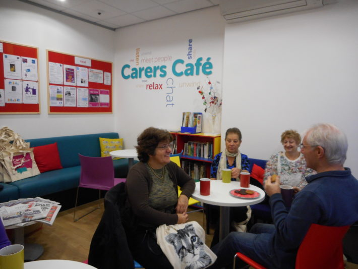 carers talking in carers cafe