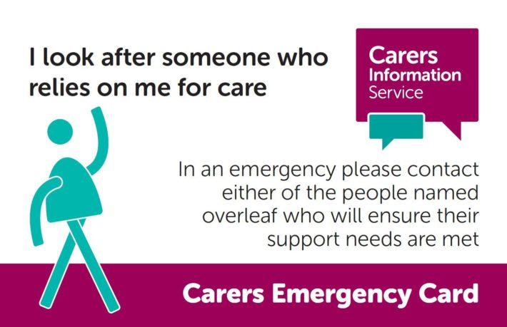 image of carers emergency card