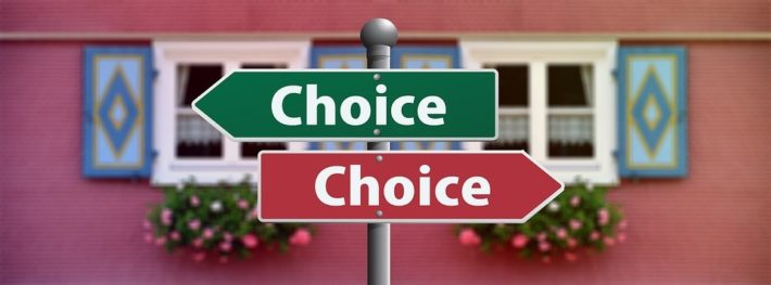 signs with choice pointing in opposite directions