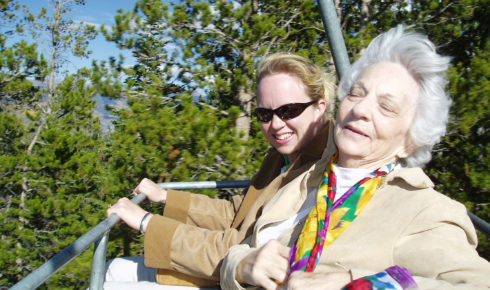 older and younger woman on a ride