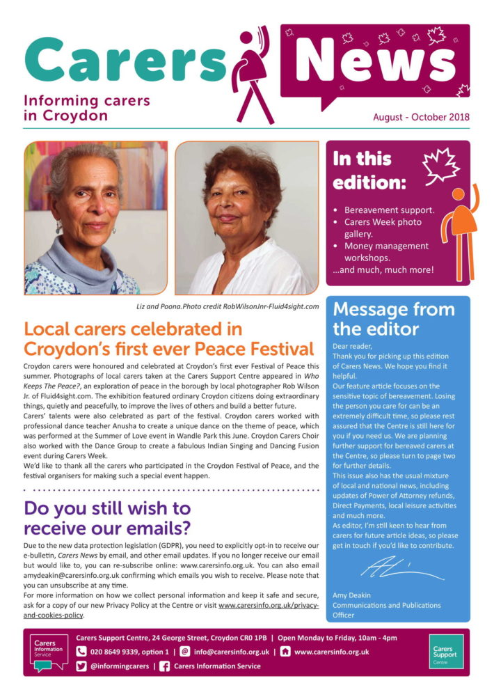 image of front cover of Carers News August to October 2018