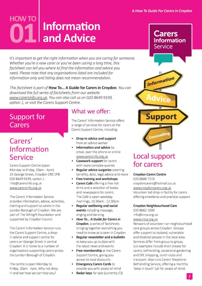 Factsheets for Croydon Carers: Carers' Information Service